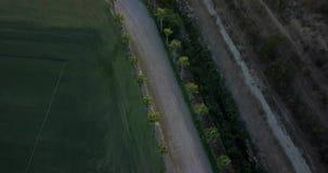 Vuelo aéreo sobre campo rural del camino y de hierba en la puesta del sol almacen de video
