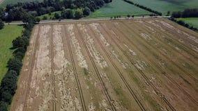 Vuelo aéreo sobre campos y prados almacen de video