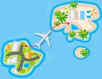 Vuelo al centro turístico del mar Imágenes de archivo libres de regalías