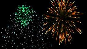 Vuelo alrededor de los fuegos artificiales en el día de la celebración, lazo metrajes