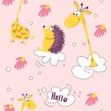 Vuelo amarillo divertido de la jirafa del modelo inconsútil y del erizo de la clase en las nubes Cabeza de la jirafa, margarita,  stock de ilustración