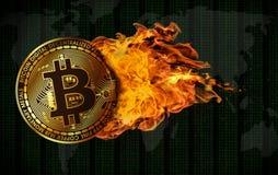Vuelo Bitcoin engullido en llamas fotografía de archivo