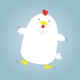 Vuelo blanco gordo grande lindo de la gallina Fotografía de archivo