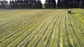 Vuelo cercano sobre apenas las franjas segadas de la hierba a los tractores almacen de metraje de vídeo