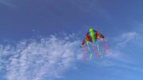 Vuelo colorido de la cometa en cielo nublado azul metrajes