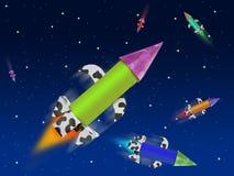 Vuelo colorido del cohete de la fantasía en espacio azul Fotografía de archivo