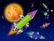 Vuelo colorido del cohete de la fantasía en espacio azul Fotos de archivo libres de regalías