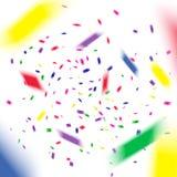 Vuelo colorido que baja los elementos de la decoración de la celebración Fondo abstracto con confeti que cae Imagenes de archivo