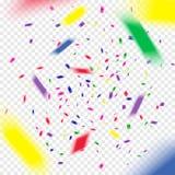 Vuelo colorido que baja los elementos de la decoración de la celebración Fondo abstracto con confeti que cae Imagen de archivo