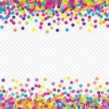 Vuelo colorido que baja los elementos de la decoración de la celebración Fondo abstracto con confeti que cae Foto de archivo
