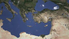 Vuelo comercial del aeroplano a Atenas, Grecia, animación 3D metrajes
