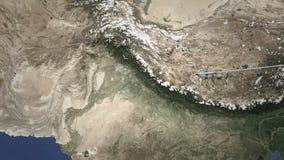 Vuelo comercial del aeroplano a Faisalabad, Paquistán, animación 3D almacen de metraje de vídeo