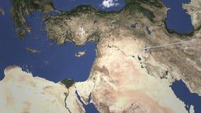 Vuelo comercial del aeroplano a Limassol, Chipre Animaci?n de la introducci?n 3D stock de ilustración