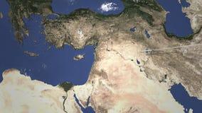 Vuelo comercial del aeroplano a Nicosia, Chipre Animaci?n de la introducci?n 3D libre illustration
