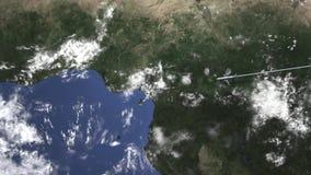 Vuelo comercial del aeroplano a Port Harcourt, Nigeria, animación 3D almacen de video