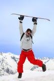 Vuelo con el snowboard Fotos de archivo