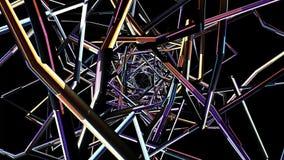Vuelo con la nueva animación de los gráficos del movimiento de la calidad del centelleo 3d de la interferencia TV de la sinapsis  stock de ilustración