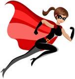Vuelo corriente de la mujer del superhéroe aislado stock de ilustración