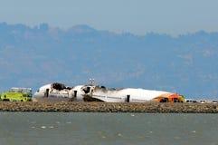 Vuelo 214 de Asiana Airlines después del aterrizaje forzoso en San Francisco Airport July 6, 2013 Imagenes de archivo