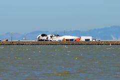Vuelo 214 de Asiana Airlines después del aterrizaje forzoso en San Francisco Airport July 6, 2013 Fotografía de archivo