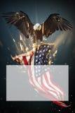 Vuelo de Eagle calvo con la bandera americana stock de ilustración