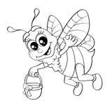 Vuelo de la abeja de la historieta con la miel del cubo Foto de archivo