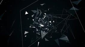 Vuelo de la animación en la abstracción geométrica, vídeo 4k stock de ilustración
