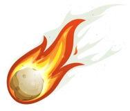 Vuelo de la bola de fuego y del cometa de la historieta Imágenes de archivo libres de regalías