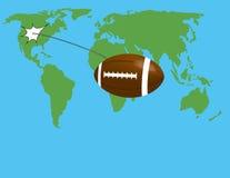 Vuelo de la bola en el mapa del mundo Imagen de archivo