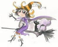 Vuelo de la bruja de Víspera de Todos los Santos en el palo de escoba Imágenes de archivo libres de regalías