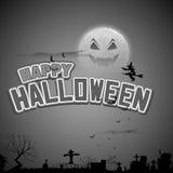 Vuelo de la bruja en fondo del feliz Halloween Foto de archivo libre de regalías