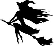 Vuelo de la bruja en un palo de escoba Imagen de archivo