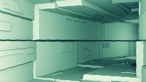 Vuelo de la cámara a través de un túnel tecnológico futurista con las ondulaciones stock de ilustración