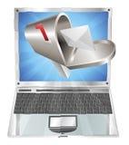 Vuelo de la caja de la carta fuera del concepto de la pantalla de la computadora portátil stock de ilustración