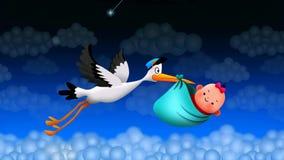 Vuelo de la cig?e?a que sostiene un bolso con un beb?, el mejor fondo de pantalla de v?deo del lazo para que nana ponga a un beb? stock de ilustración