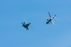 Vuelo de la demostración del UHT del tigre de Eurocopter del helicóptero de ataque Imagenes de archivo