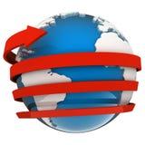 Vuelo de la flecha alrededor del globo stock de ilustración