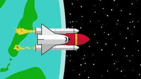 Vuelo de la lanzadera de la nave espacial de la tierra del planeta en espacio libre illustration