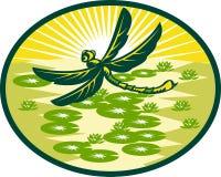 Vuelo de la libélula con las pistas de lirio stock de ilustración