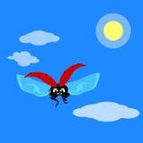 Vuelo de la mariquita en el cielo en estilo plano Ilustración del vector Imágenes de archivo libres de regalías