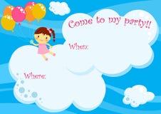 Vuelo de la muchacha de la tarjeta de la invitación del partido con los globos Fotografía de archivo libre de regalías
