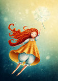Vuelo de la muchacha en el cielo con el diente de león Imagen de archivo libre de regalías