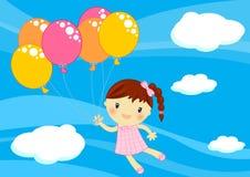 Vuelo de la niña con los baloons Imágenes de archivo libres de regalías
