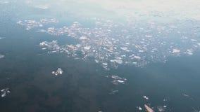 Vuelo de la visión aérea sobre el hielo de fusión del golfo septentrional el golfo y la orilla finlandeses congelados en hielo de metrajes