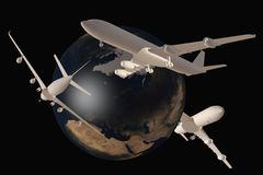 Vuelo de los aviones alrededor del mundo Imagenes de archivo