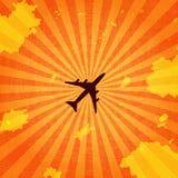 Vuelo de los aviones de pasajero en cielo imagen de archivo libre de regalías