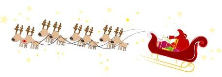 Vuelo de Papá Noel con el trineo Fotografía de archivo libre de regalías