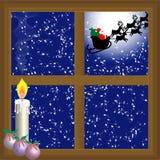 Vuelo de Papá Noel en el cielo Imagen de archivo libre de regalías