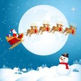 Vuelo de Papá Noel a través del cielo nocturno Fotografía de archivo libre de regalías
