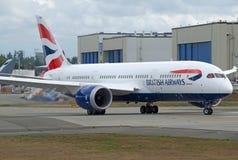 Vuelo de prueba a estrenar del dreamliner B787-8 de British Airways fotografía de archivo